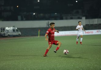 Naorem Mahesh Singh's brace helped Shillong Lajong FC beat Aizawl FC 2-1 in the first NorthEadt Derby of the 12th Hero I-League season. (Photo courtesy: AIFF Media)
