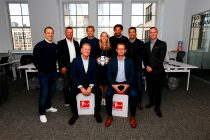 Steven Cherundolo, Lothar Matthäus, Arne Rees, Jürgen Klinsmann, Melanie Fitzgerald, Jermaine Jones, Robert Klein, Pavel Pardo and Ian Joy at the DFL Deutsche Fußball Liga / Bundesliga International office in New York. (Photo courtesy: DFL Deutsche Fußball Liga)