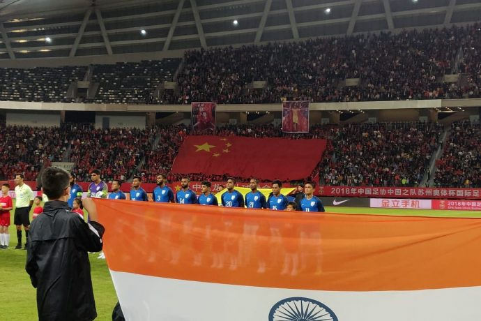 Historic friendly match between China and India at the Suzhou Olympic Sports Centre Stadium. (Photo courtesy: AIFF Media)