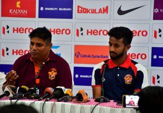 Gokulam Kerala FC head coach Bino George and vice-captain Md. Rashid during the Hero I-League pre-match press conference. (Photo courtesy: AIFF Media)
