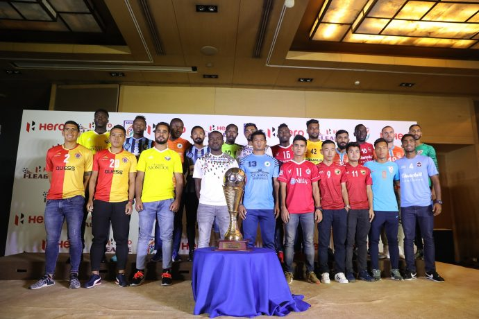 Representatives from the eleven clubs with the league winners trophy at the 2018/19 Hero I-League launch ceremony. (Photo courtesy: I-League Media)