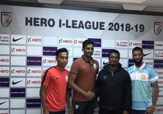 Indian Arrows' captain Amarjit Singh, Indian Arrows head coach Floyd Pinto, Chennai City FC head coach Akbar Nawas and Chennai City FC captain Regin Michael at the Hero I-League pre-match press conference. (Photo courtesy: AIFF Media)