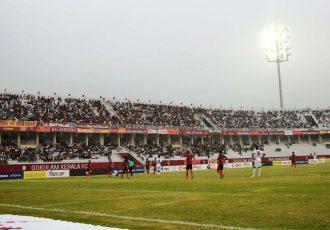 Hero I-League match action between Gokulam Kerala FC and East Bengal FC at the EMS Corporation Stadium in Kozhikode. (Photo courtesy: AIFF Media)