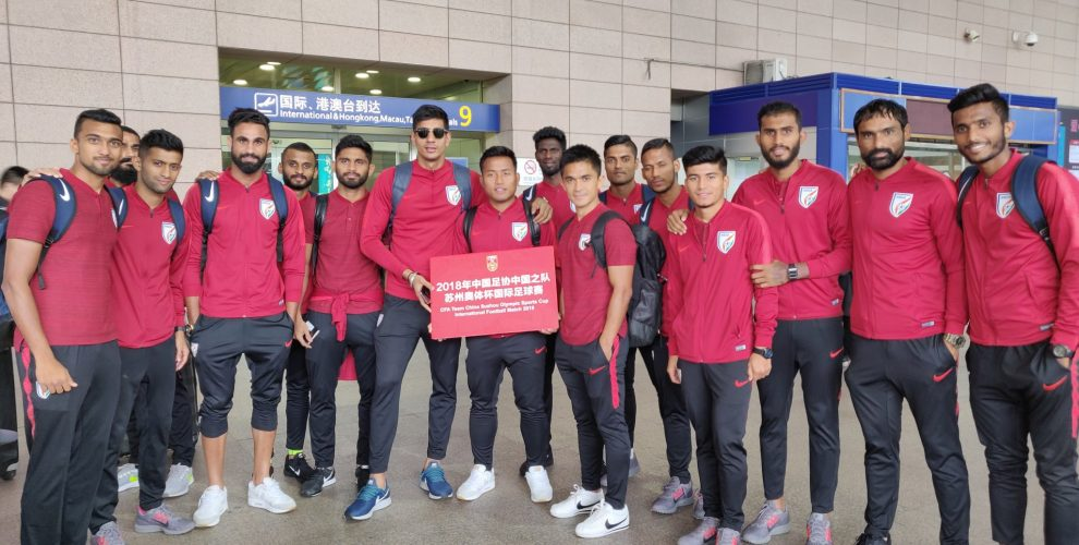 The Indian national team on their arrival in Shizhou for the forthcoming friendly against China. (Photo courtesy: AIFF Media)