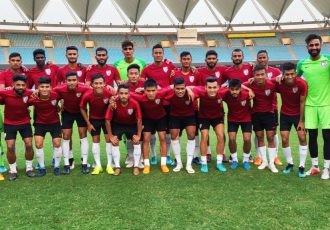 The Indian national team at the Jawaharlal Nehru Stadium in New Delhi. (Photo courtesy: AIFF Media)