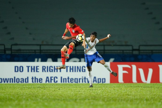 AFC U-16 Championship Malaysia 2018 quarter-final action bewteen Korea Republic and India. (Photo courtesy: AIFF Media)