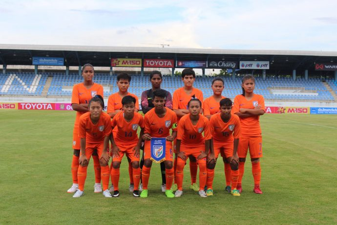 The India U-19 Women's national team ahead of their AFC U-19 Women's Championship qualifier. (Photo courtesy: AIFF Media)