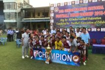 Manipur Women's team celebrating their win in the Final of the 24th Senior Women's National Football Championships final. (Photo courtesy: AIFF Media)