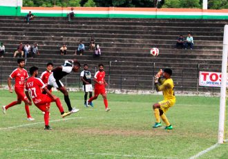 70th Independence Day Cup match action between Mohammedan Sporting Club and BSF Jalandhar at the Nurul Amin Stadium in Nagaon, Assam. (Photo courtesy: Mohammedan Sporting Club)