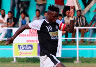 Mohammedan Sporting's Phillip Adjah Tetteh in action at the 2018 Bordoloi Trophy. (Photo courtesy: Mohammedan Sporting Club)