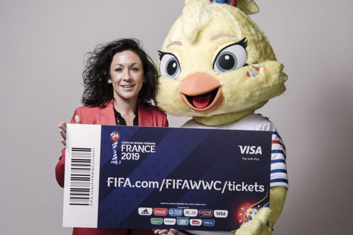 Nadine Keßler, Head of Women's Football, UEFA and FIFA Women's World Cup France 2019 mascot Ettie launch tickets sales for the tournament. (Photo courtesy: FIFA)