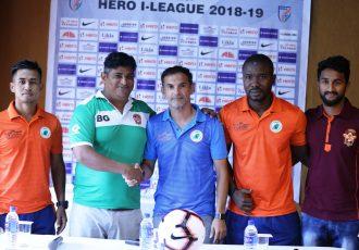 I-League pre-match press conference ahead of the NEROCA FC vs Gokulam Kerala FC encounter. (Photo courtesy: AIFF Media)