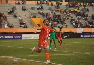 Chennai City FC's Pedro Manzi celebrating a goal against the Indian Arrows in the Hero I-League opening match. (Photo courtesy: AIFF Media)