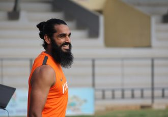 Indian international Sandesh Jhingan during an Indian national team training session. (Photo courtesy: AIFF Media)