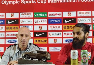 Head coach Stephen Constantine and defender Sandesh Jhingan at the pre-match press conference ahead of India's friendly match against China. (Photo courtesy: AIFF Media)