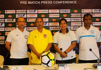 2020 AFC Women's Olympic Qualifying Tournament Group C pre-event press conference with Nepal head coach Hari Khadka, Myanmar head coach Win Thu Moe, India head coach Maymol Rocky and Bangladesh head coach Golam Robbani Choton. (Photo courtesy: AIFF Media)