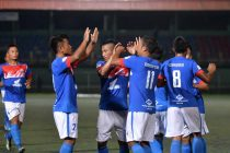 Chanmari FC players celebrating a goal during their Mizoram Premier League match. (Photo courtesy: Mizoram Football Association)