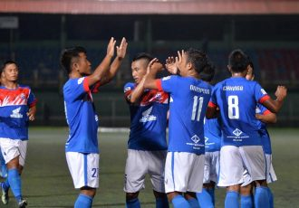Chanmari FC players celebrating a goal during their Mizoram Premier League match. (Photo courtesy: Mizoram Football Association)