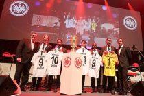 Eintracht Frankfurt board members Axel Hellmann (left) and Fredi Bobic (right) with new brand ambassadors Jan-Aage Fjörtoft, Augustine 'Jay-Jay' Okocha, Cha Bum-kun, Anthony Yeboah and Oka Nikolov. (Photo courtesy: Eintracht Frankfurt)