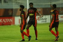 Gokulam Kerala FC players celebrating during their 3-1 win against Shillong Lajong FC in an I-League encounter. (Photo courtesy: AIFF Media)