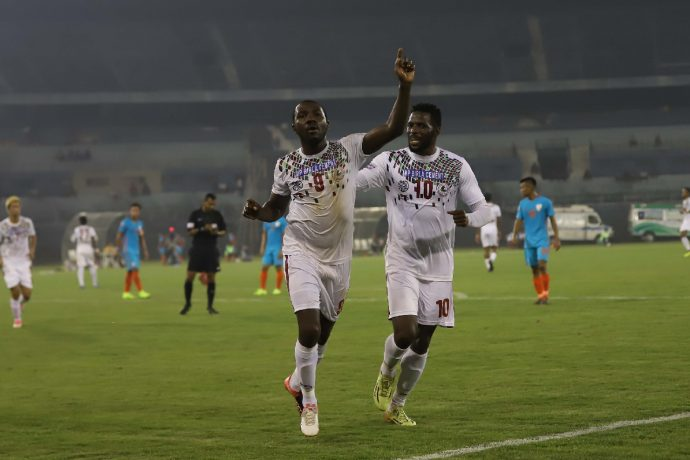 Aser Dipanda Dicka celebrating one of his goals in Mohun Bagan's victory against the Indian Arrows in an I-League encounter. (Photo courtesy: AIFF Media)
