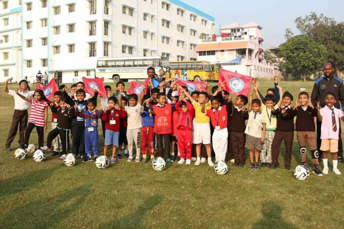 Players and officials of Jamshedpur FC's football school in association with RVS Academy in Mango. (Photo courtesy: Jamshedpur FC)