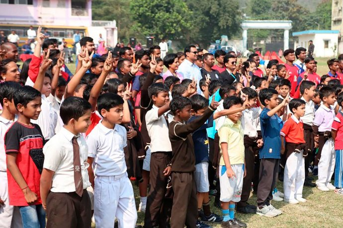 Children at Jamshedpur FC's Grassroots Football Festival at the RVS Academy. (Photo courtesy: Jamshedpur FC)