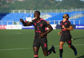 Minerva Punjab FC defender Lancine Toure celebrating one of his goals against Aizawl FC in the Hero I-League. (Photo courtesy: AIFF Media)