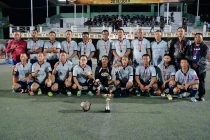 The South Zone squad posing with the MFA Veteran League trophy. (Photo courtesy: Mizoram Football Association)