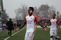 Felix Chidi celebrating during NEROCA FC's 2-0 win against Real Kashmir FC. (Photo courtesy: AIFF Media)