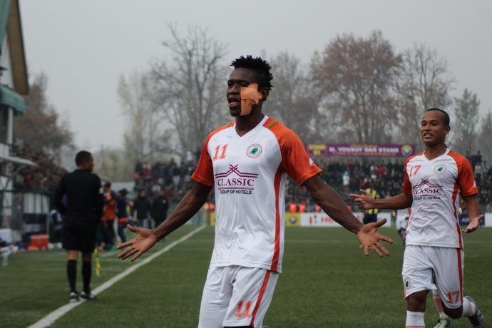 Felix Chidi celebrating during NEROCA FC's 2-0 win against Real Kashmir FC. (Photo courtesy: AIFF Media)