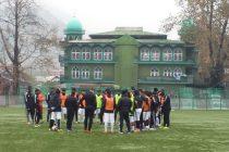 Real Kashmir FC training session at Srinagar's TRC Turf Ground. (Photo courtesy: AIFF Media)