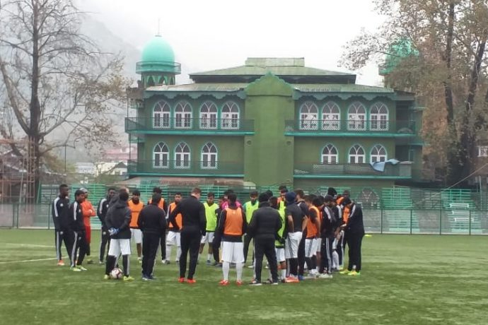 Real Kashmir FC training session at Srinagar's TRC Turf Ground. (Photo courtesy: AIFF Media)