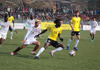 Hero I-League match action between Real Kashmir FC and Mohun Bagan AC. (Photo courtesy: AIFF Media)