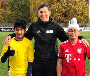 Sanskar Sangavi, Verena Willinek and Nirvaan Sawhney. (Photo courtesy: German Football Academy)