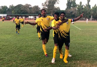 Velsao Sports and Cultural Club players celebrating a goal during their Goa Pro League match. (Photo courtesy: Goa Football Association)