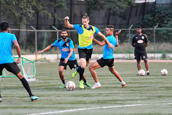 Bengaluru FC defender Albert Serran vies for possession in training at the Bangalore Football Stadium, ahead of their clash against FC Goa, on Thursday. (Photo courtesy: Bengaluru FC)