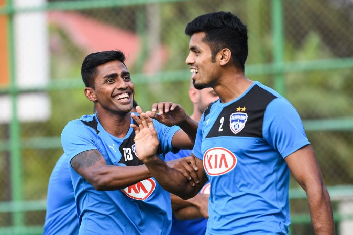 Bengaluru FC training session at the Panampilly Nagar Training Facility in Kochi on the eve of their big clash against Kerala Blasters FC in the Indian Super League. (Photo courtesy: Bengaluru FC)