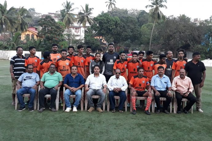 Bidesh XI team members and officials along with GFA's Vice President Mr. Lavino Rebello and Bardez executive members at Duler Stadium. (Photo courtesy: Goa Football Association)