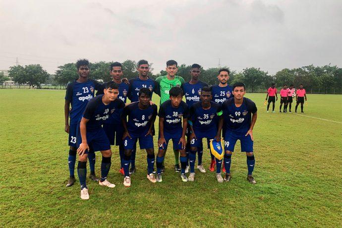 The Chennaiyin FC U-18 team ahead of their U-18 Youth League match. (Photo courtesy: Chennaiyin FC)