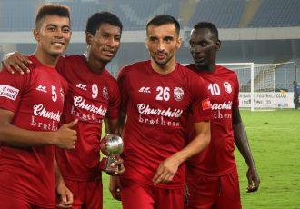 Churchill Brothers FC after the Hero I-League encounter. (Photo courtesy: AIFF Media)