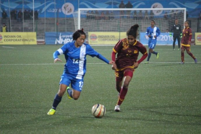 Dangmei Grace in action for the Indian Women's national team. (Photo courtesy: AIFF Media)