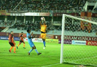 Hero I-League match action between Gokulam Kerala FC and Churchill Brothers FC. (Photo courtesy: AIFF Media)