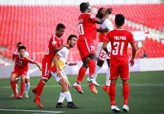 Hero I-League match action between Aizawl FC and East Bengal FC. (Photo courtesy: AIFF Media)