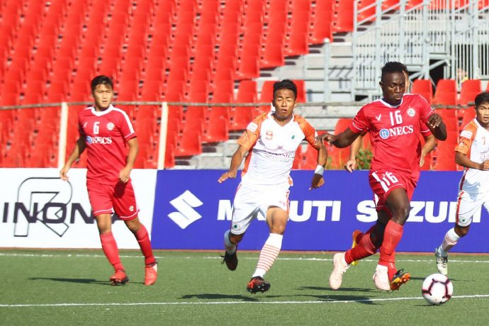 Hero I-League match action between Aizawl FC and NEROCA FC. (Photo courtesy: AIFF Media)
