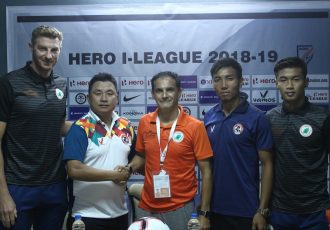 Pre-match press-conference ahead of the Hero I-League encounter Aizawl FC vs NEROCA FC. (Photo courtesy: AIFF Media)