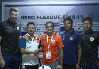 Pre-match press-conference ahead of the Hero I-League encounter Aizawl FC vs NEROCA FC. (Photo courtesy: AIFF Media)