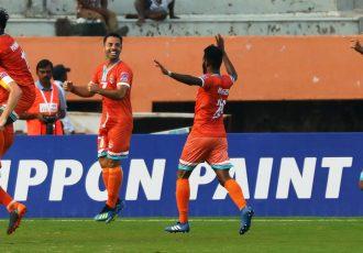 Chennai City FC players celebrating a goal against NEROCA FC in an I-League encounter. (Photo courtesy: AIFF Media)