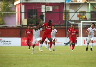 Hero I-League match action between Churchill Brothers FC and Shillong Lajong FC. (Photo courtesy: AIFF Media)