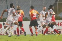 Chennai City FC players celebrating their match winning goal against East Benagl FC in an I-League encounter. (Photo courtesy: AIFF Media)